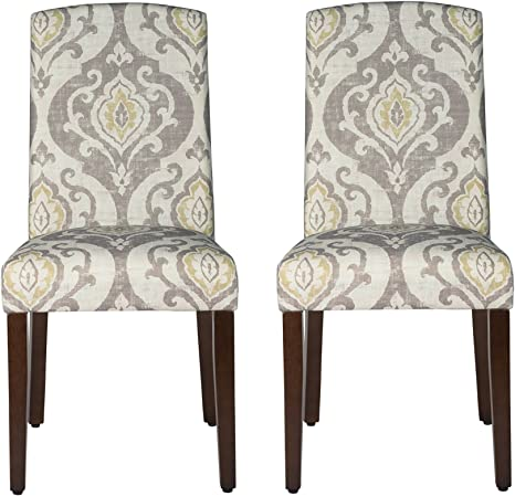 Amazon Com Homepop Parsons Classic Upholstered Accent Dining Chair With Curved Top Set Of 2 Suri Brown Furniture Decor