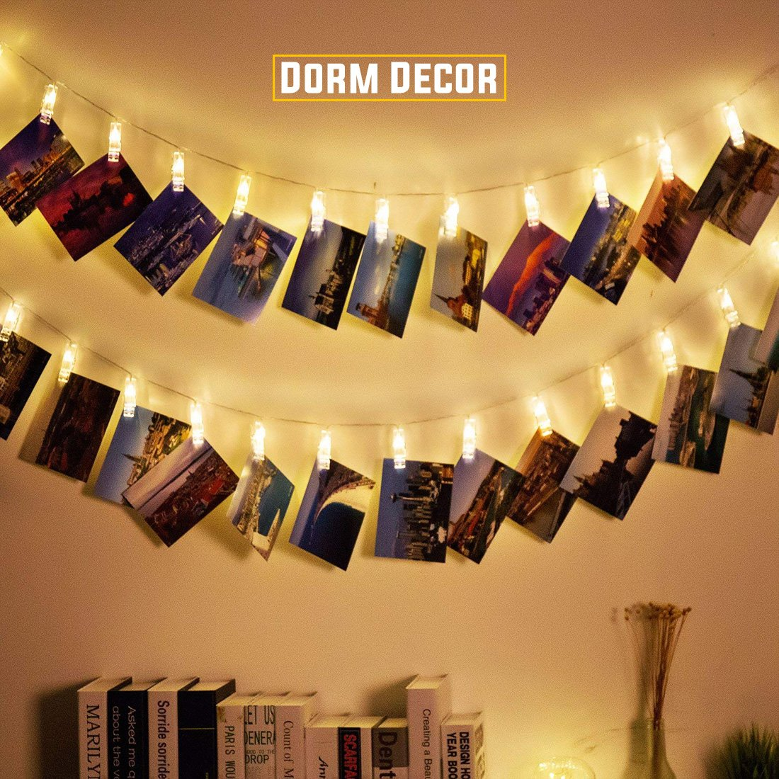 40 LED Photo Clips String Lights – 8 Modes Wall Hanging Clothespin Picture Display Peg Card Holder, Girl Back to School Dorm Room Décor Essential, Birthday Party Halloween Christmas Decorations Gifts by HappyDoggy (Image #2)