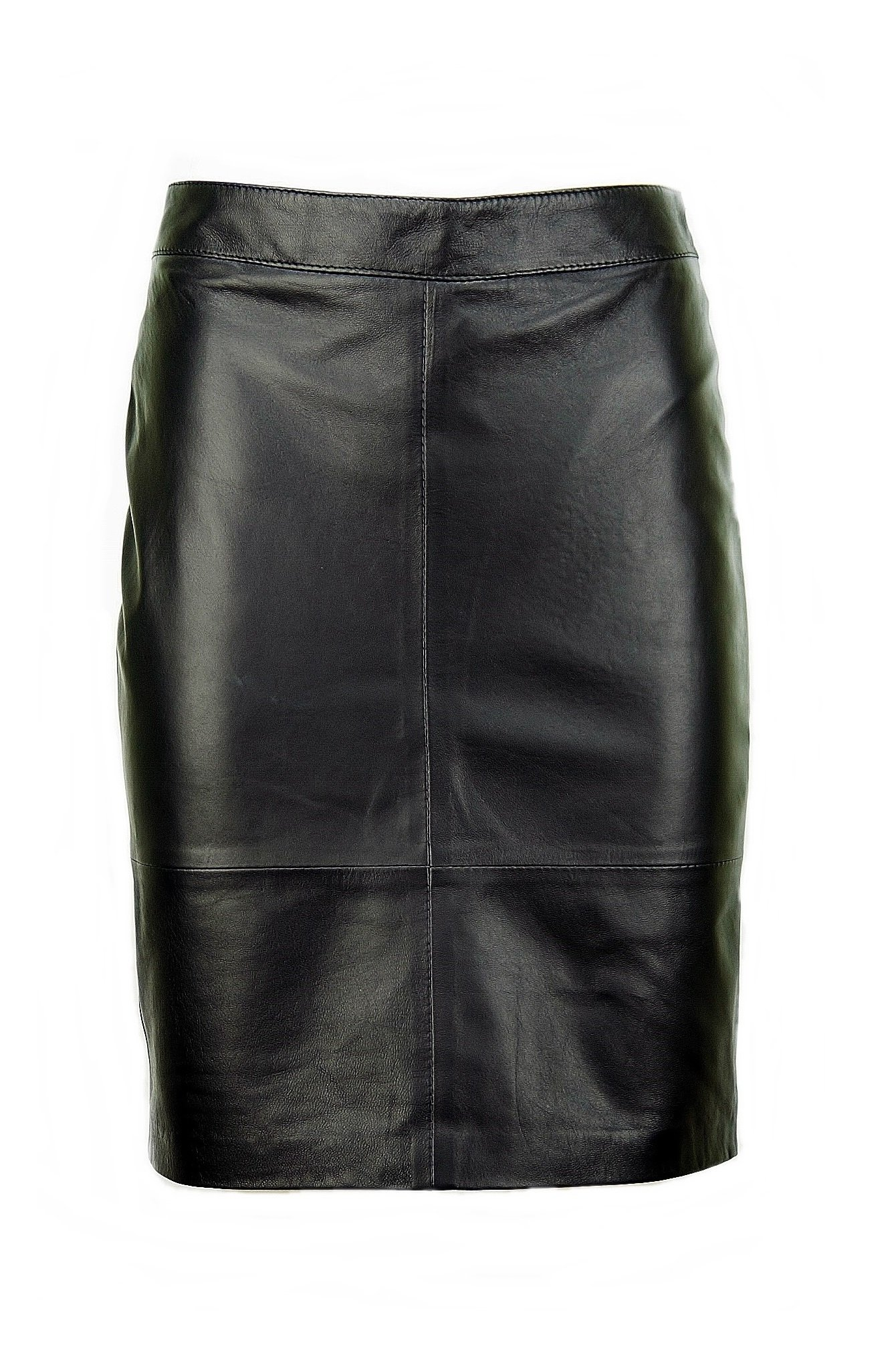Women's Leather Skirt, Black Pencil Skirt, Midi Ksp-0001 (L)