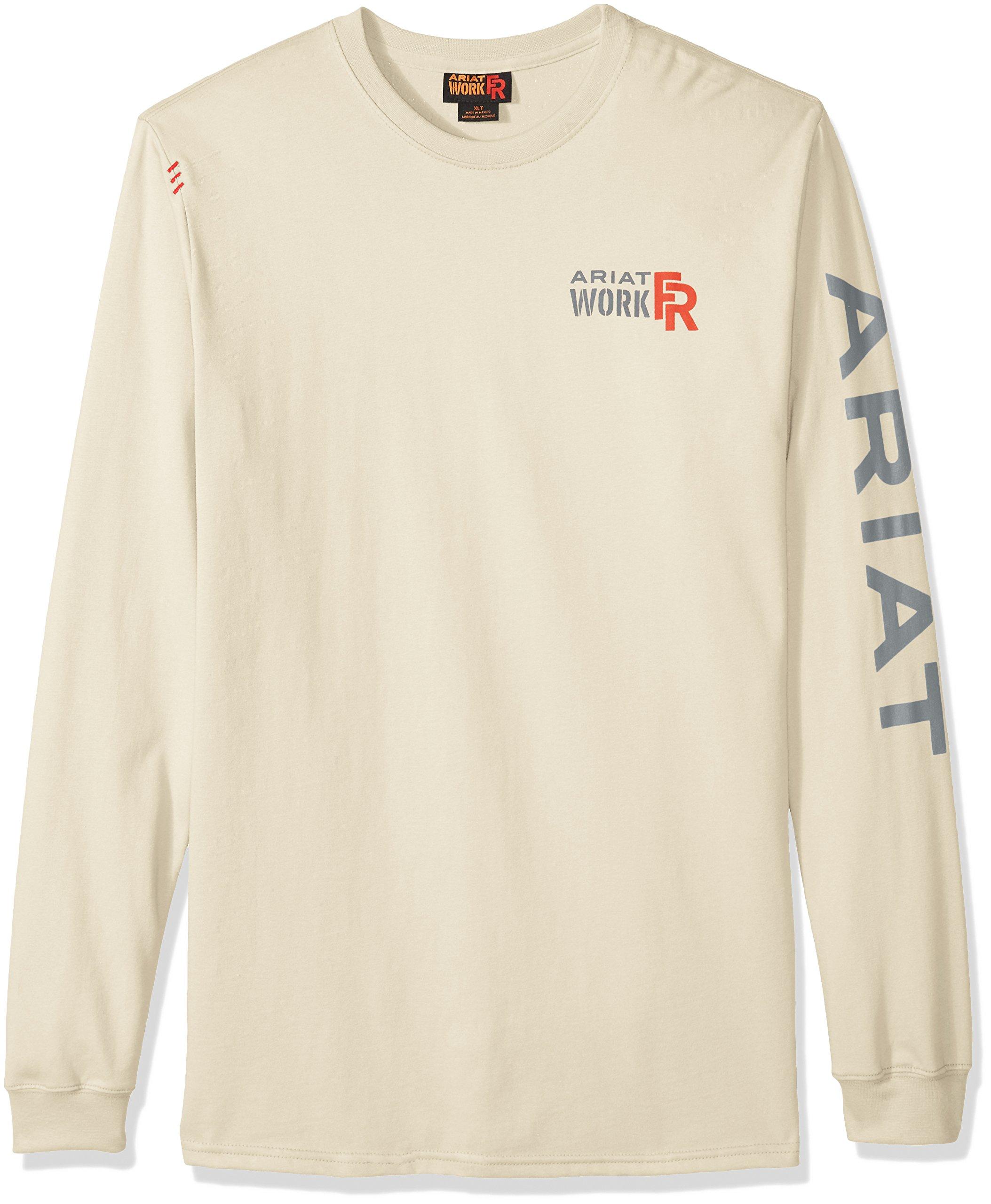 ARIAT Men's Fr Crew Logo T-Shirt Sand Size XL-T