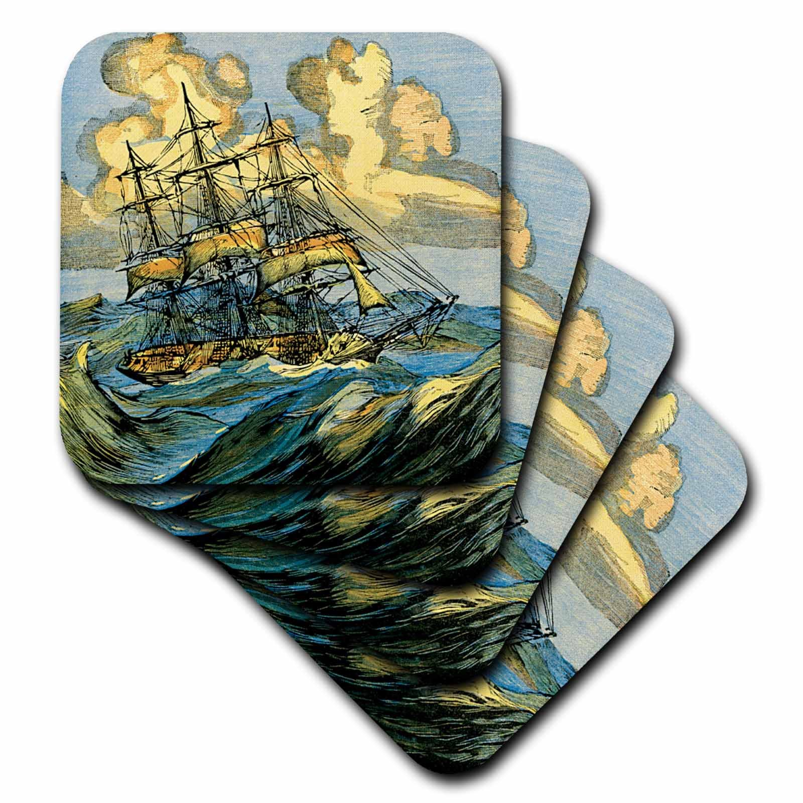 3dRose cst_29064_1 Rough Seas for Sailing Ship-Soft