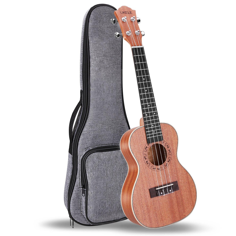 UKELE Concert Ukulele 23 Inch Ukelele Professional Wooden Beginner Instrument Small Hawaiian Guitar Bundle with Gig Bag for Starter