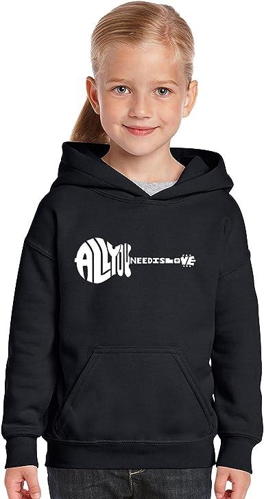 LA Pop Art All You Need is Love Girls Word Art Hooded Sweatshirt