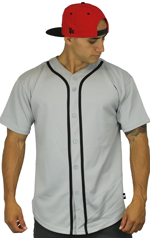 ベースボール ジャージーTシャツ プレーン ボタンダウン スポーツT B01GF0KZU8 Medium|グレー グレー Medium