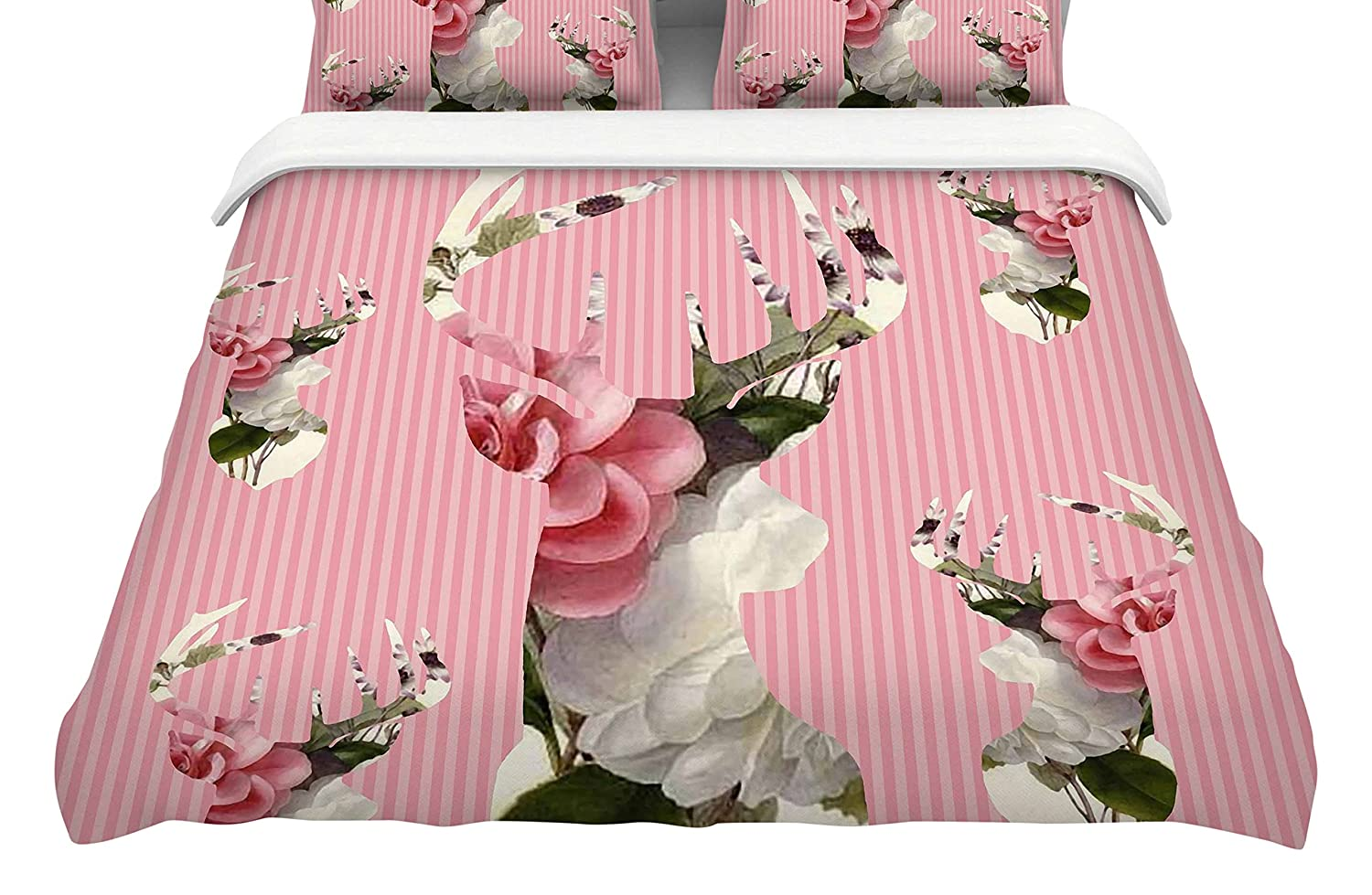 Kess InHouse Suzanne Carter Floral Deer Pink White Queen Cotton Duvet Cover, 88-Inch