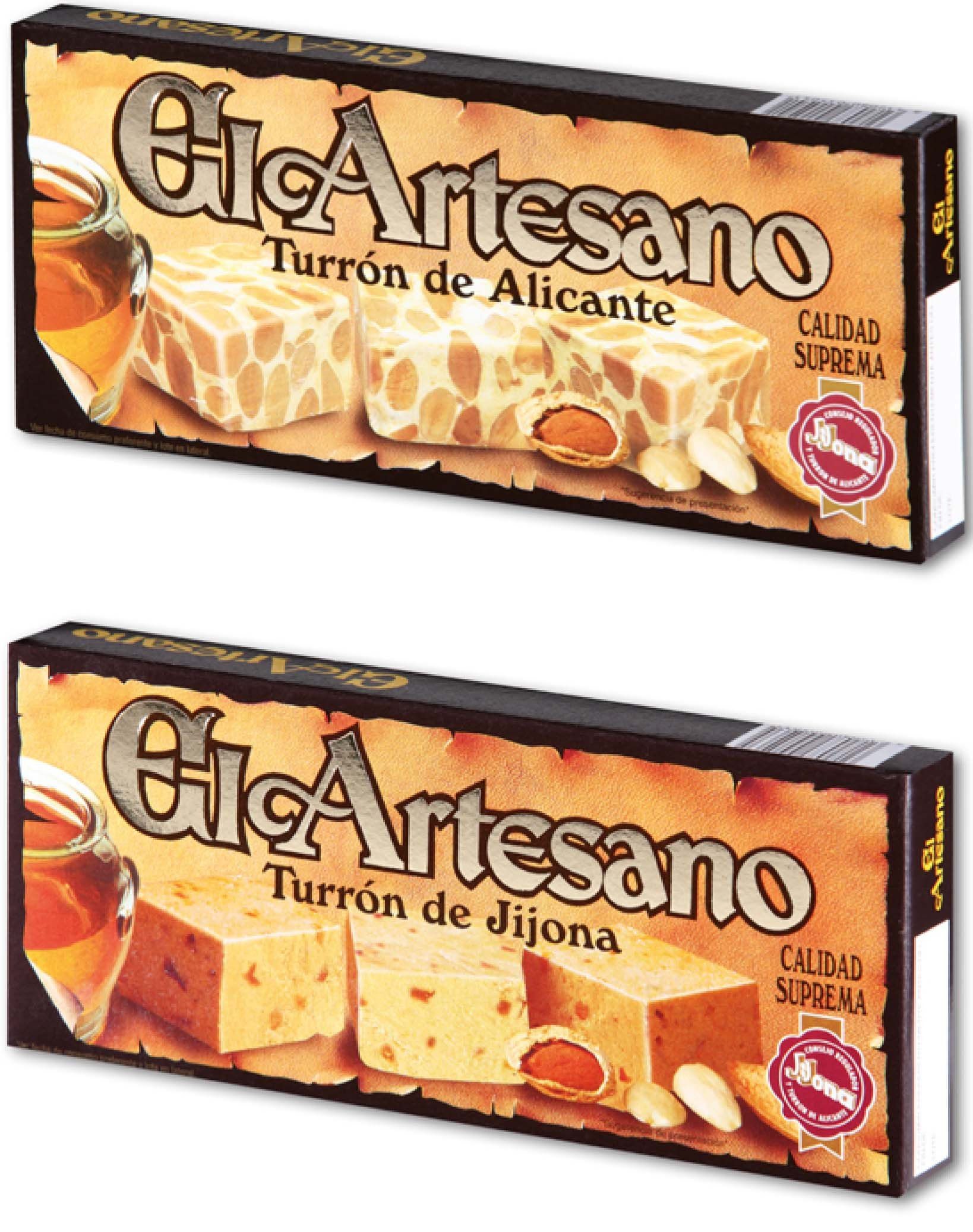 El Artesano Combo pack of 12 with 6 units of Crunchy Almond Alicante Turron (Turron de Alicante Duro) 7 Oz (200 G) bundle with 6 units of Jijona Turron Almond Nougat 7 oz (200g) each unit by El Artesano