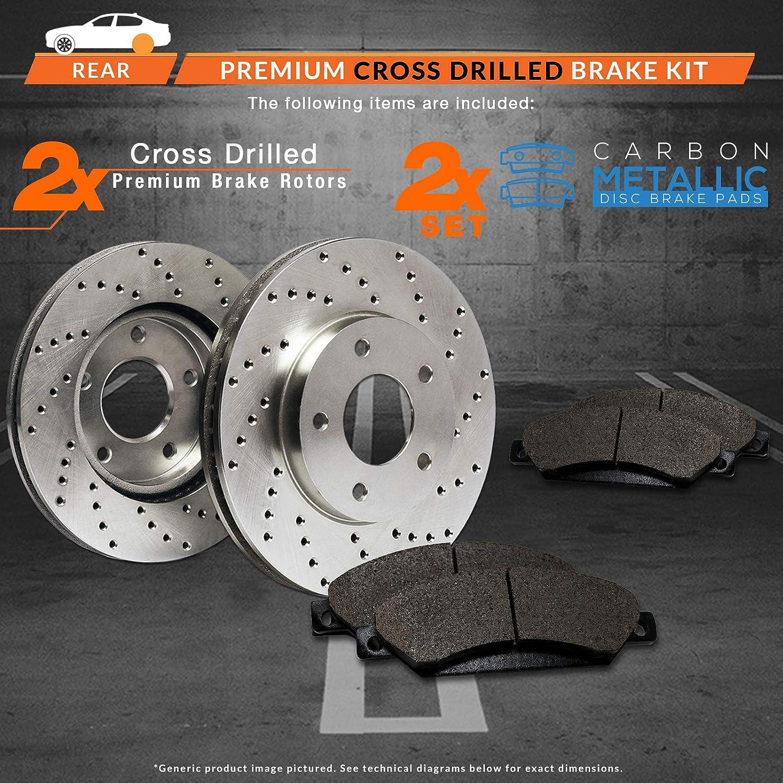 Premium Cross Drilled Rotors + Metallic Pads TA057922 Fits: 2009 09 2010 10 2011 11 2012 12 2013 13 Acura TSX Max Brakes Rear Performance Brake Kit