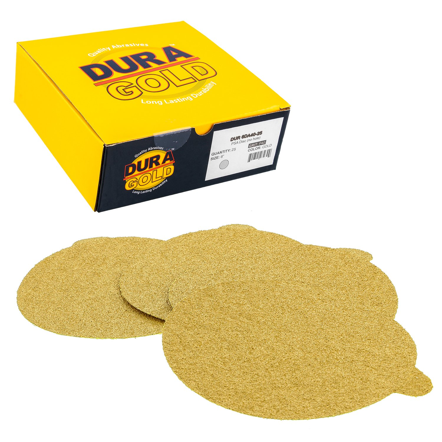 Dura-Gold Premium - 40 Grit 6'' Gold PSA Self Adhesive Stickyback Sanding Discs for DA Sanders - Box of 25 Sandpaper Finishing Discs for Automotive and Woodworking by Dura-Gold (Image #1)