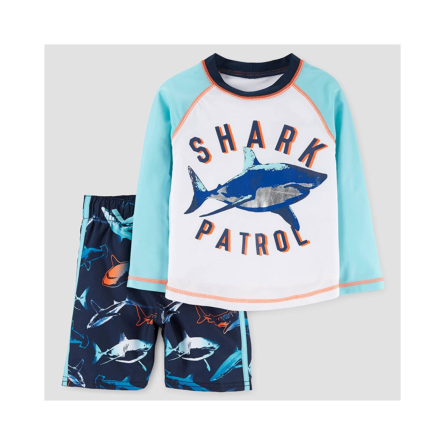 dd5be21c1 Amazon.com: Just One You By Carters Toddler Boys Rash Guard Swim Trunk Set  Blue Sharks (12M): Clothing