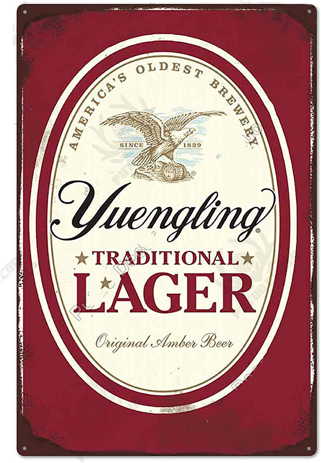 Beer TIN Sign Yuengling Traditional Lager - Metal Plaque, Retro Decor for Bar, Cafe, Pub, Size 8