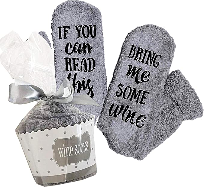 """Xpeciall Gift Wine Socks""""If You Can Read This Bring Me Some Wine"""" Funny Novelty Luxury Socks - Wine Lovers Gifts for Women Under 25 Dollars (Gray)"""