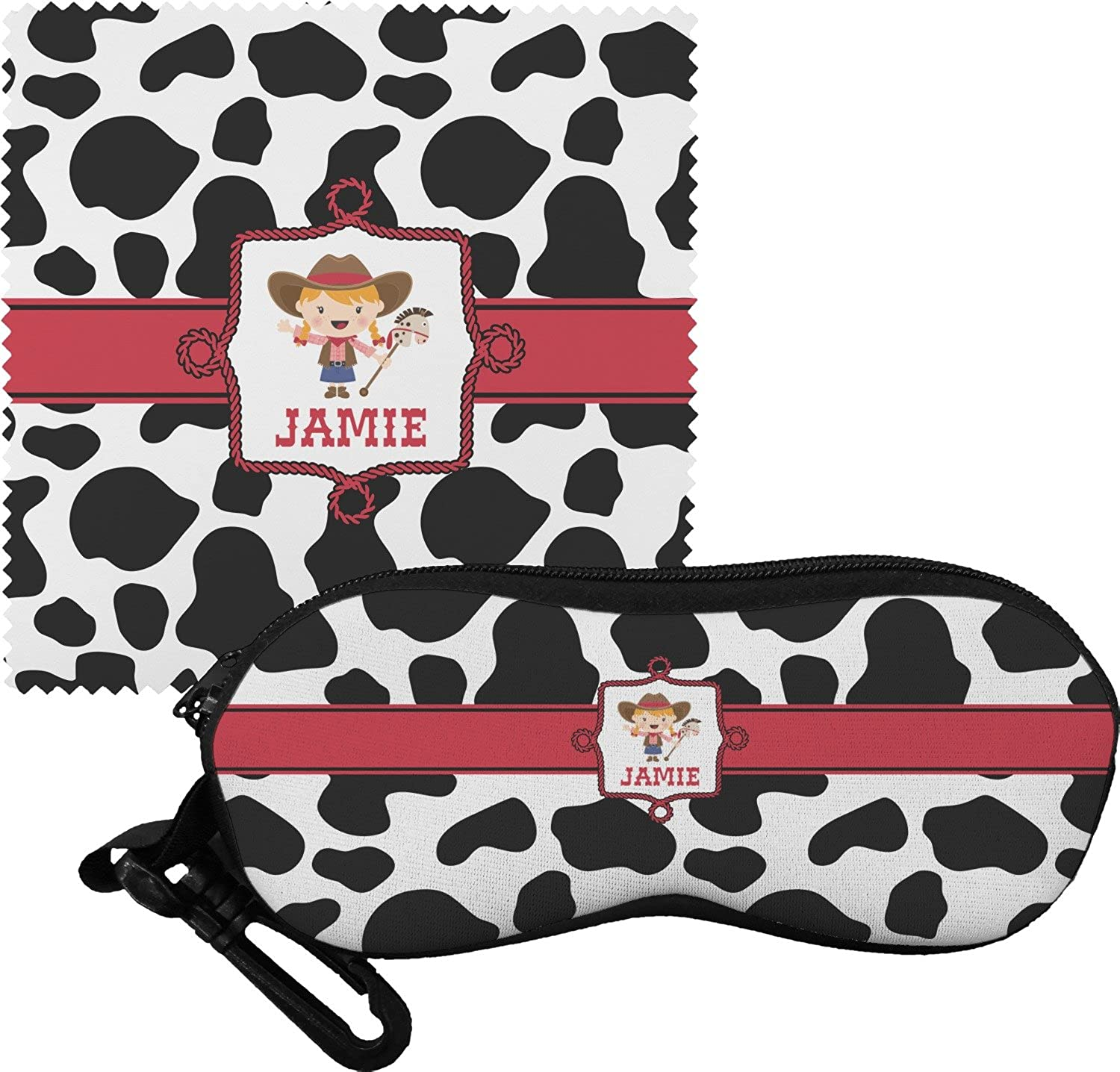 Cowprint Cowgirl Eyeglass Case & Cloth (Personalized)
