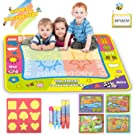 lenbest Water Drawing Mat, Mess-Free Drawing Doodle Mat Aqua Magic Mat - Ideal Writing Mats for Kids with 1 Doodle Water Book & 5 Pens & 9 Stamps, One FREE Doodle Water Book