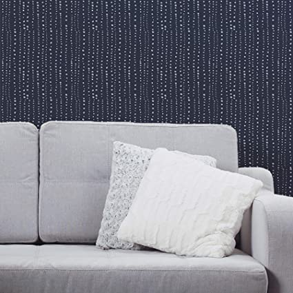 Peel And Stick Wallpaper Blue Dots And Stripes Removable Peel And Stick Vinyl Wall Paper Each Roll Is 18 Ft Long X 18 In Wide By Flipside