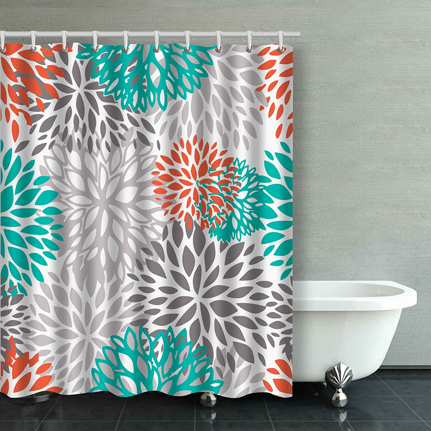 Accrocn Waterproof Shower Curtain Curtains Fabric Orange Gray and ...