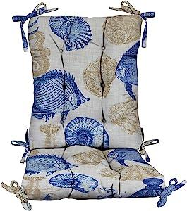 "RSH Décor Indoor / Outdoor Tufted Rocker Rocking Chair Pad Cushions in Ocean, Lake, Summer, Coastal Fabrics (Tufted Cushion-Back: 17"" W x 21"" L Seat: 18"" W x 16D, Blue Tan Ivory Nautical Crab)"