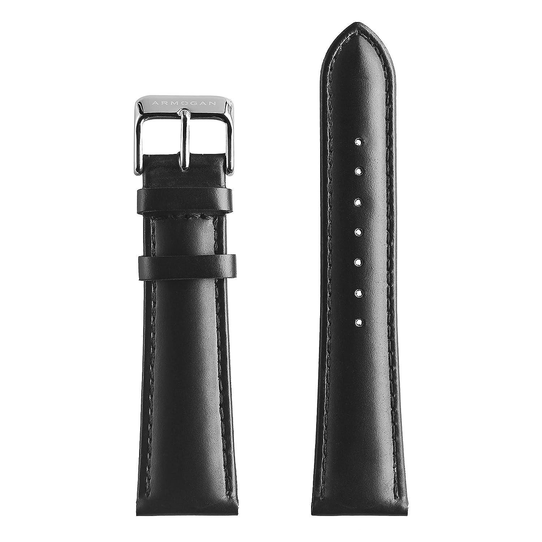 Armogan本革時計ストラップ – lc11s – ブラック – ステンレスバックル – メンズ腕時計バンド  B01N94F9H2