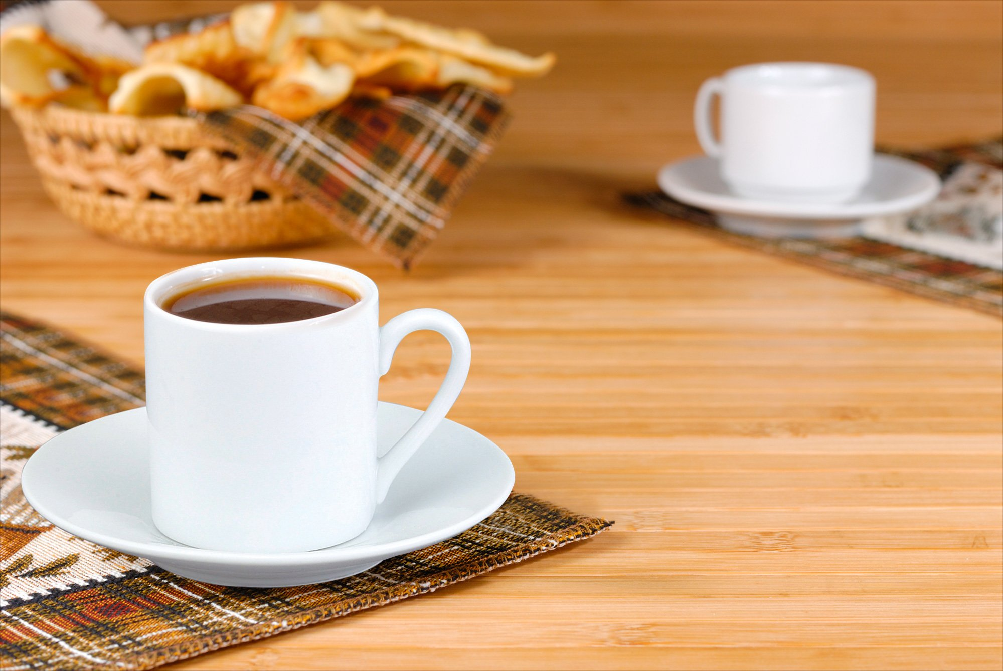 HIC 8-Piece Demitasse Espresso Cups Set, Fine White Porcelain, Set Includes 4 Cups with Matching Saucers, 2.25-Ounces