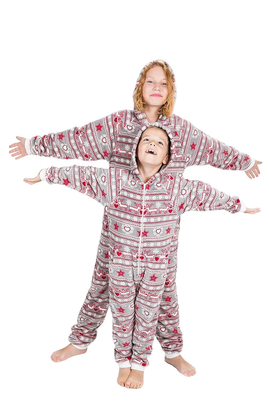 Damenschlafanzug Unisex-Schlafanzug Weihnachtstraum-Go-Jamz: Einteiler aus Fleece einteiliger Fleece Overall