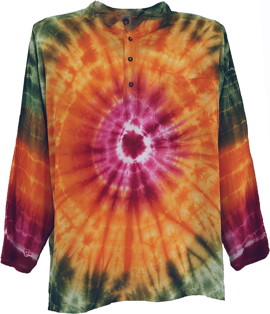 GURU-SHOP, Camisa Batik, Camisa Hippie Boho, Camisa Festival, Naranja/Multicolor, Sintético, Tamaño:S, Camisas de Hombre: Amazon.es: Ropa y accesorios