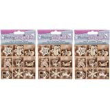Finishing Accents 23464 Christmas Theme Mini Laser Cuts Wood Shapes, Multicolor (3 Pack)