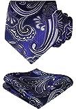 HISDERN Men's Silk Tie Handkerchief Woven Elegant Paisley Wedding Necktie & Pocket Square Set