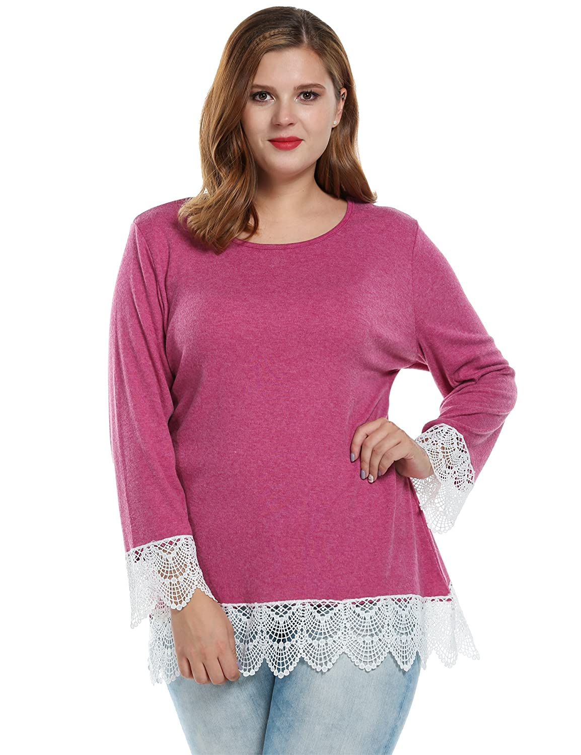 Meaneor Women's Plus Size Long Sleeve Knit Top with Lace MAH005534