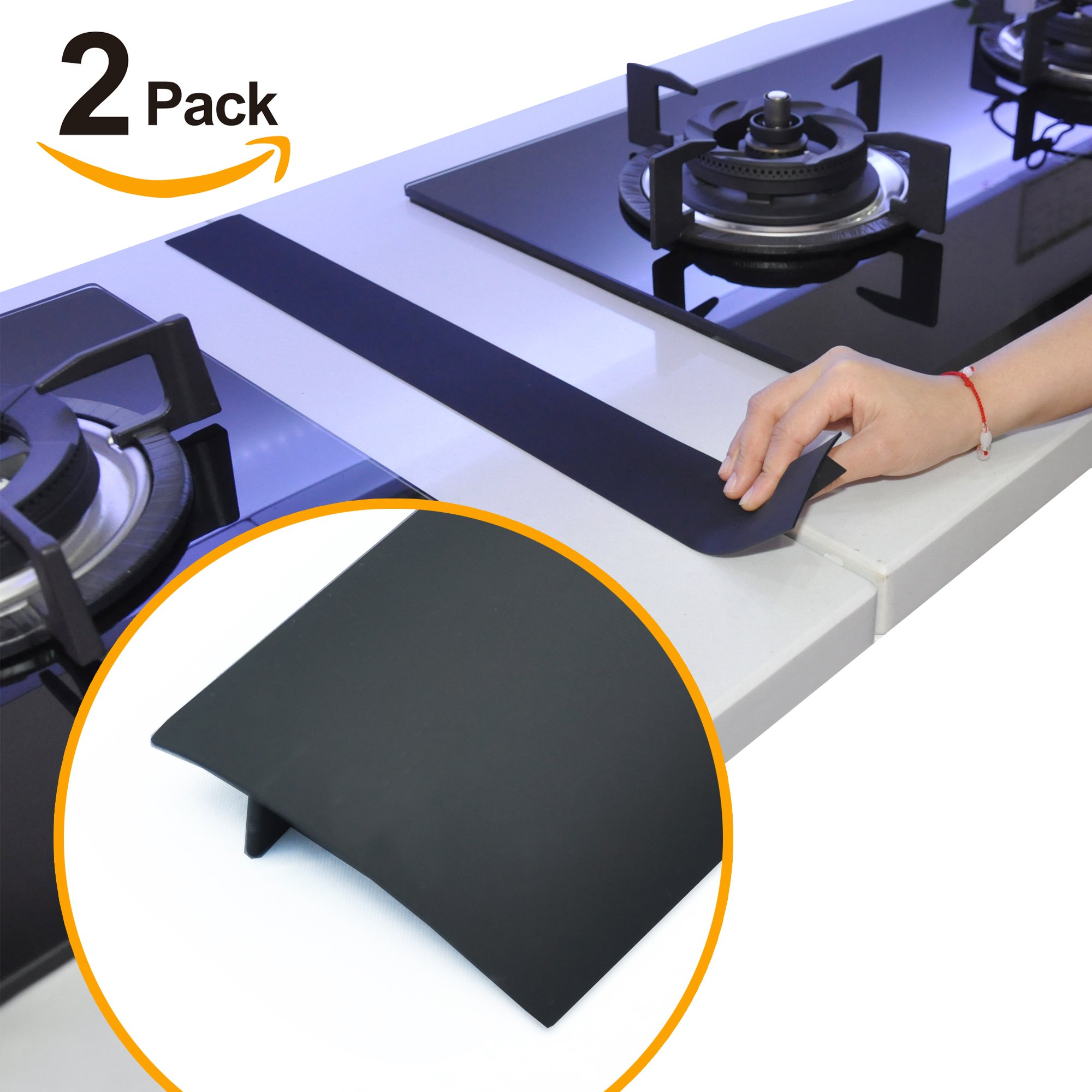 Silicone Stove Counter Gap Cover by Kindga, Easy Clean Gap Filler Sealing Spills Between Kitchen Counter, Appliances,Stovetop, Oven, Washing Machine, Washer, Dryer Set of 2 (Black)