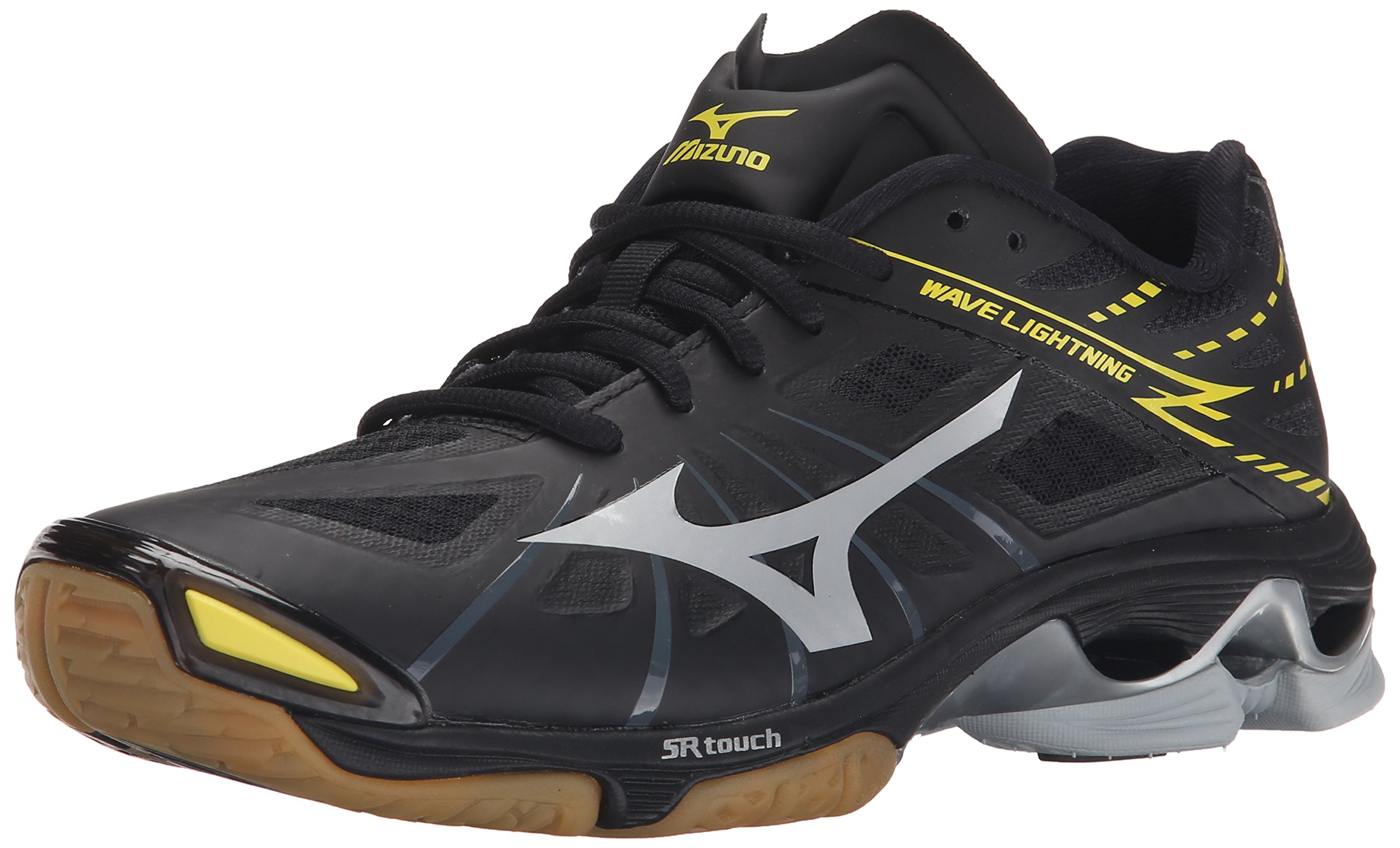 Mizuno Men's Wave Lightning Z BK-SL Volleyball Shoe, Black/Silver, 14 D US