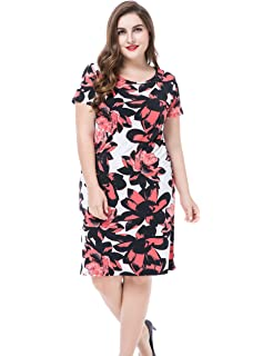 17ea8a99246 Chicwe Women s Plus Size Floral Printed Casual Dress - Round Neck Short  Sleeves Knee Length