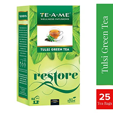 TE-A-ME Natural Tulsi Green Tea Bags (Pack of 25) Green Tea at amazon