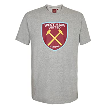 West Ham United Fc Official Soccer Gift Mens Crest T-Shirt Grey Small 2e67f205baac4