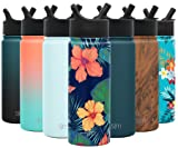 Simple Modern 18oz Summit Water Bottles with Straw Lid - Vacuum Insulated Tumbler Double Wall Travel Mug 18/8 Stainless Steel Flask - Pattern: Rad Maui