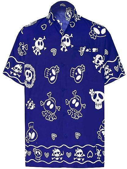 a33e0420d0 LA LEELA Men's Regular Fit Hawaiian Shirt Button Down Aloha Luau Shirt  Printed G