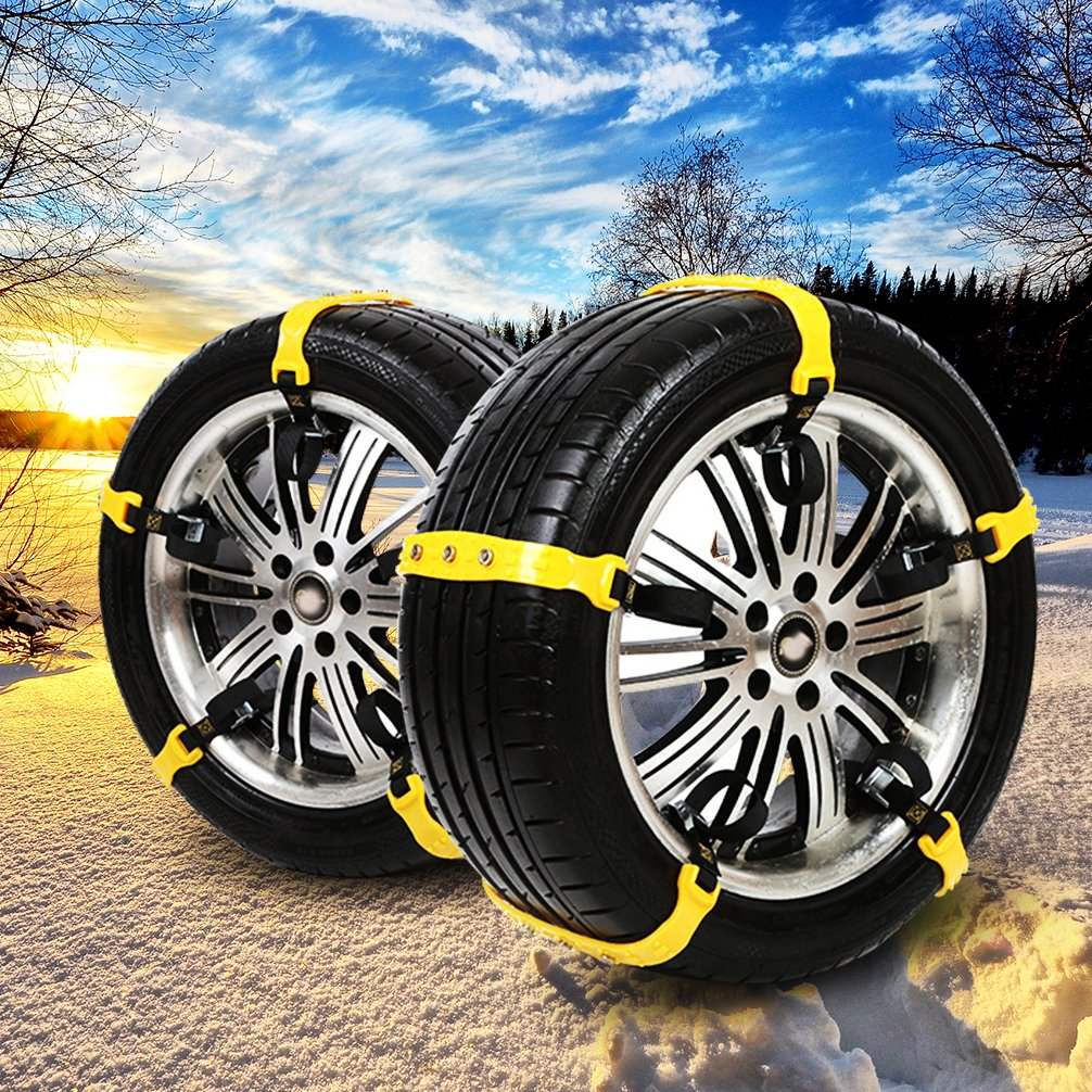 Yellow-2019New BiBOSS Snow Chains 10 Pcs Anti Slip Tire Chains Adjustable Emergency Traction Security Car Tire Chains Fit for Most Car SUV
