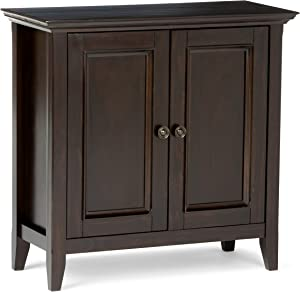 SIMPLIHOME Amherst SOLID WOOD 32 inch Wide Transitional Low Storage Cabinet in Hickory Brown, with 2 Panel Doors, 2 Large Storage Spaces with 1 Adjustable Shelf Each