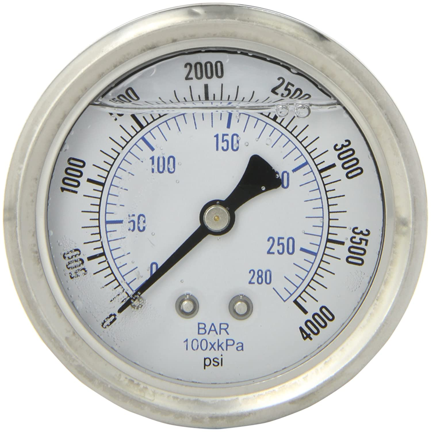 PIC Gauge PRO 202L 254Q Glycerin Filled Industrial Center Back Mount Pressure Gauge with Stainless Steel Case Brass Internals Plastic Lens 2 1 2 Dial Size 1 4 Male NPT 0 4000 psi