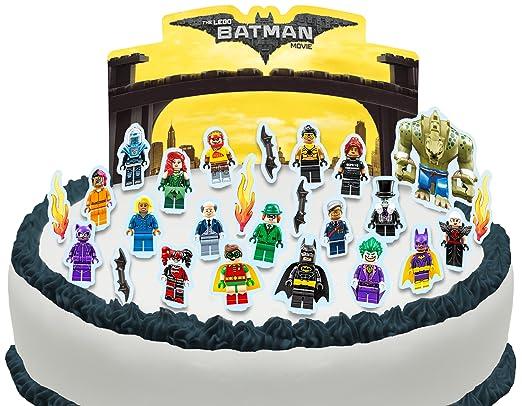 Vorgeschnittene Und Essbare Lego Batman Movie Szene Kuchen Topper