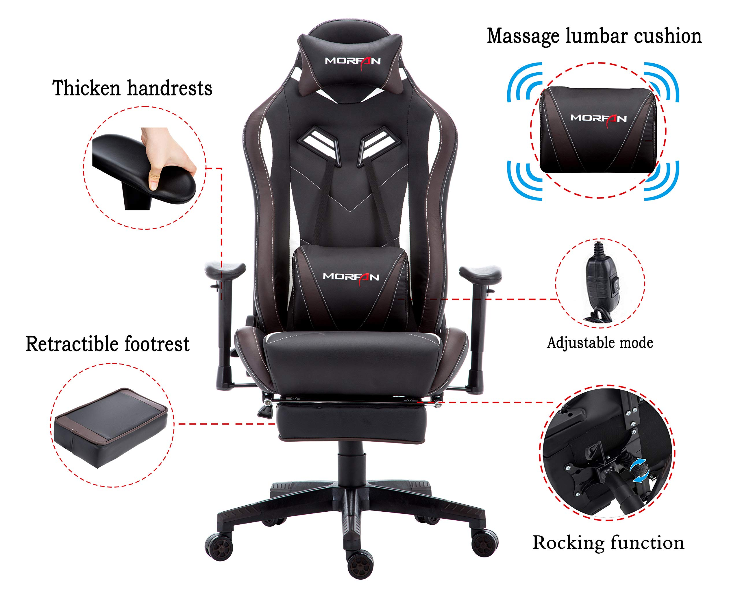 Morfan Gaming Chair Large Size Massage Function Ergonomic Racing Style PC Computer Office Chair with Retractable Footrest & Adjustable Lumbar and Headrest Pillows (Black/Brown) by MORFAN (Image #3)