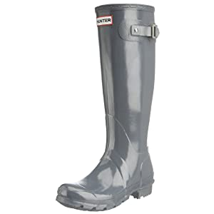 Hunter Women's Original Tall Gloss Graphite Knee-High Rubber Rain Boot - 8M