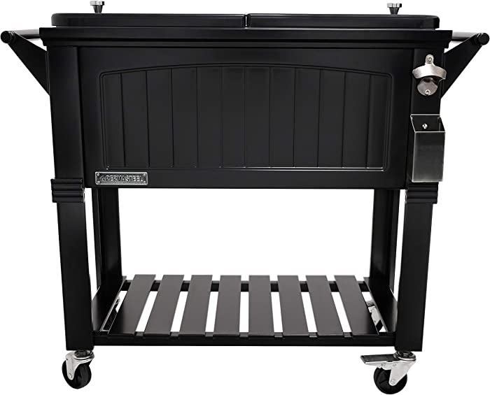 Permasteel PS-203F1-BLK-AM 80 Quart Portable Rolling Patio Cooler, Pack of 1, Black