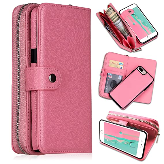 check out eb1d9 2e507 iPhone 7 Plus/iPhone 8 Plus Wallet Cases, [Large Capacity][Magnetic  Detachable] CASEOWL 2 in 1 Zipper Pocket Leather Wallet Case with Wrist  Strap, ...