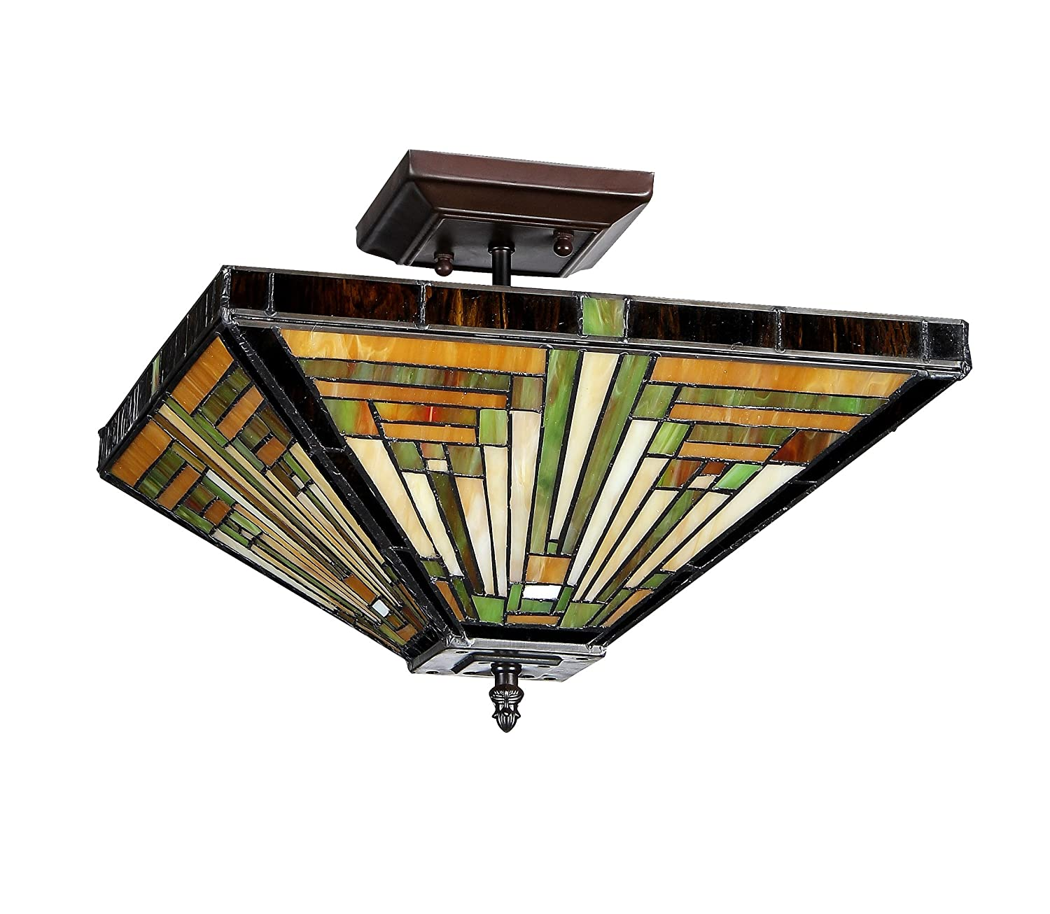 Chloe Lighting Chloe Lighting Innes 2 Light Tiffany Style Mission Semi  Flush Ceiling Fixture With 14 In. Shade   Close To Ceiling Light Fixtures    Amazon. ...