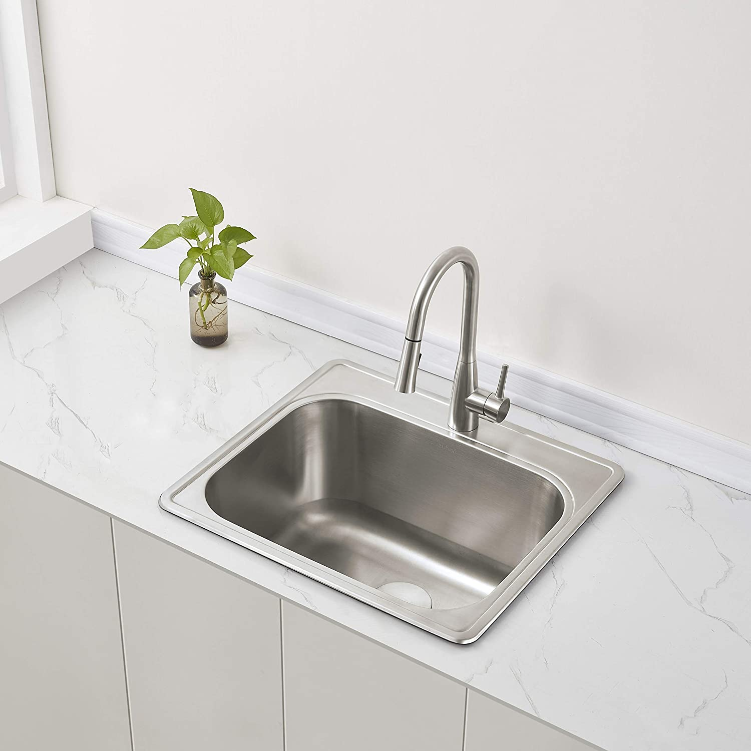"ZUHNE 25"" by 22"" Drop-In Utility Sink for Laundry Room/Kitchen Stainless Steel (Extra Deep 12"" Basin)"