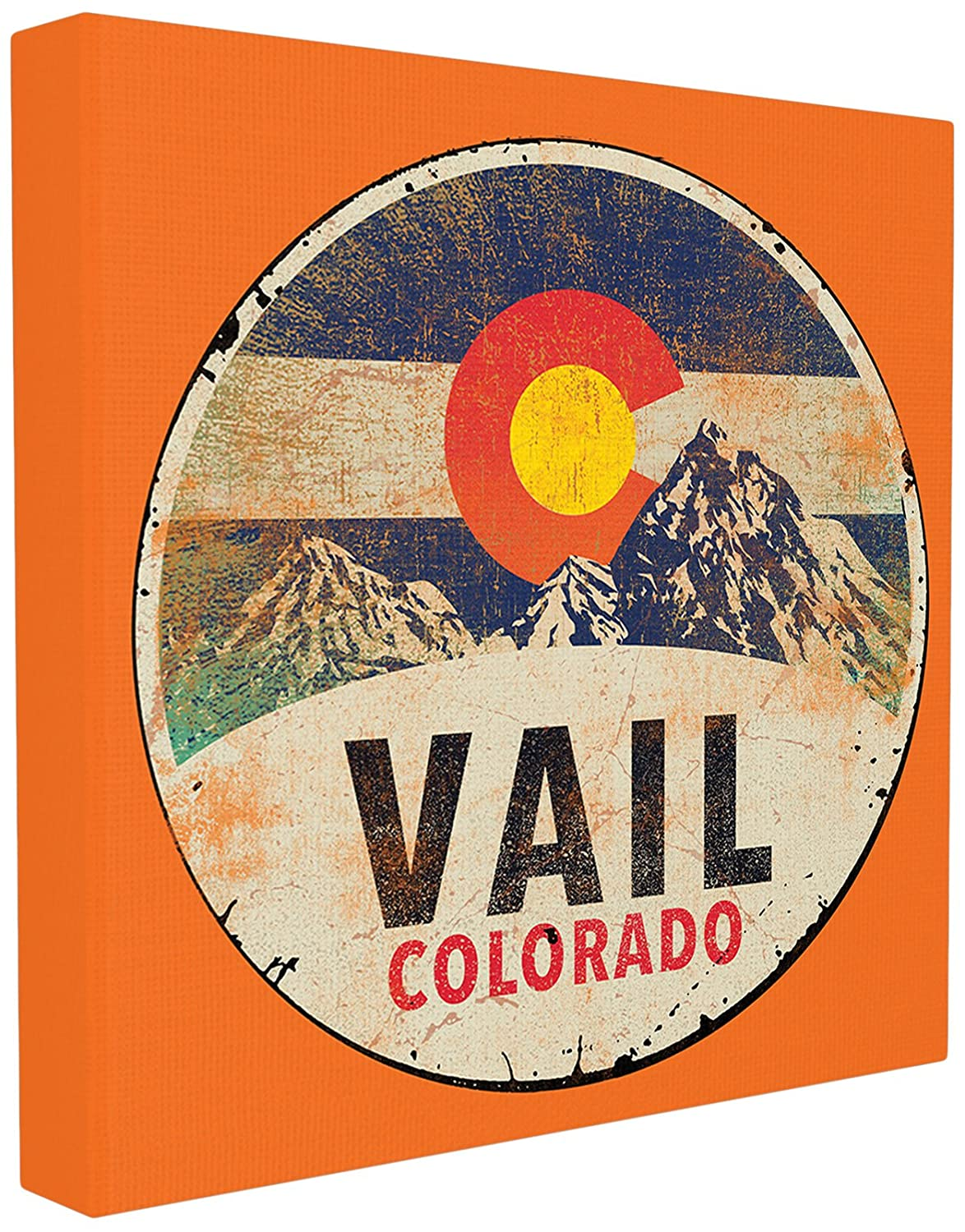Stupell Home D/écor Vail Colorado Vintage Sign Framed Giclee Texturized Art Proudly Made in USA 12 x 1.5 x 12