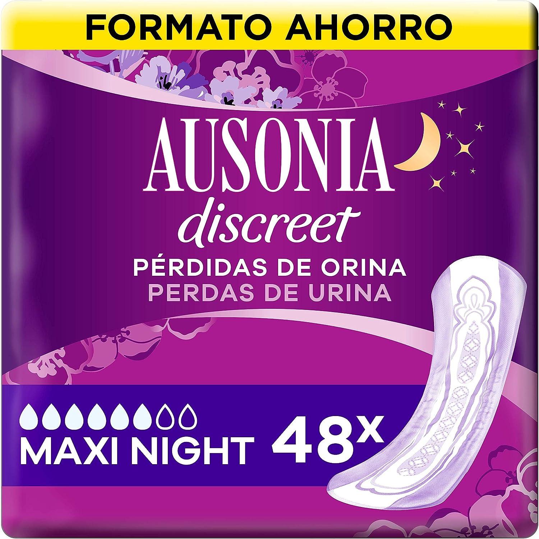 Ausonia Discreet Compresas Para Pérdidas De Orina Plus Maxi Noche Para Vejigas Hiperactivas x 48