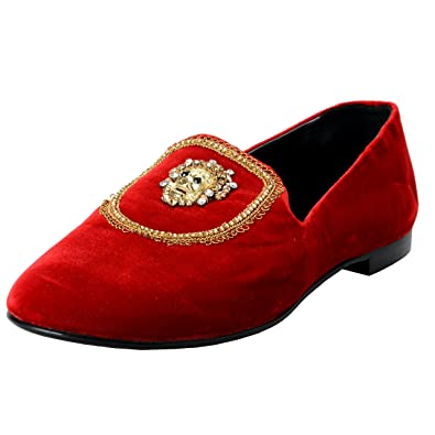 5fb9fcf0d3830 Image Unavailable. Image not available for. Color: Giuseppe Zanotti Homme  Men's Red Velour Leather Slip On Loafers Shoes ...