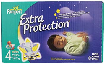 Pampers Extra Protection Diapers Size 4 Super Pack 80 Count