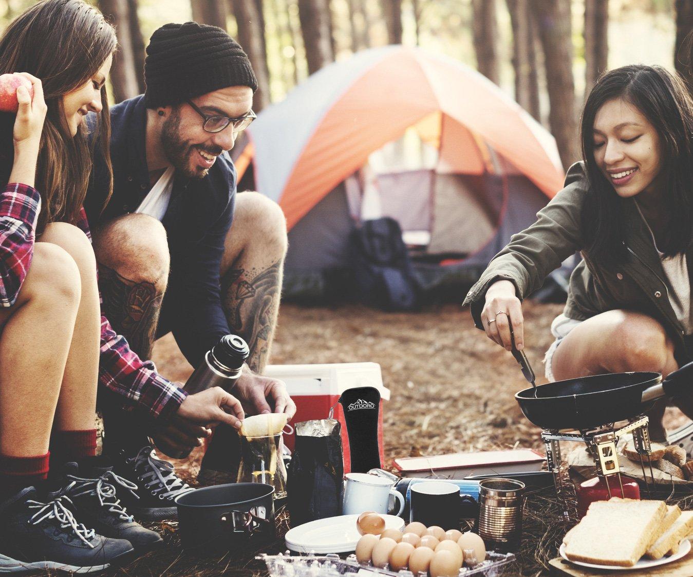 /Ideal/ negro /Cuberter/ía para exteriores y viaje outdoro camping Cubiertos y viaje Cubiertos de acero inoxidable con cubiertos de neopreno bolsa/
