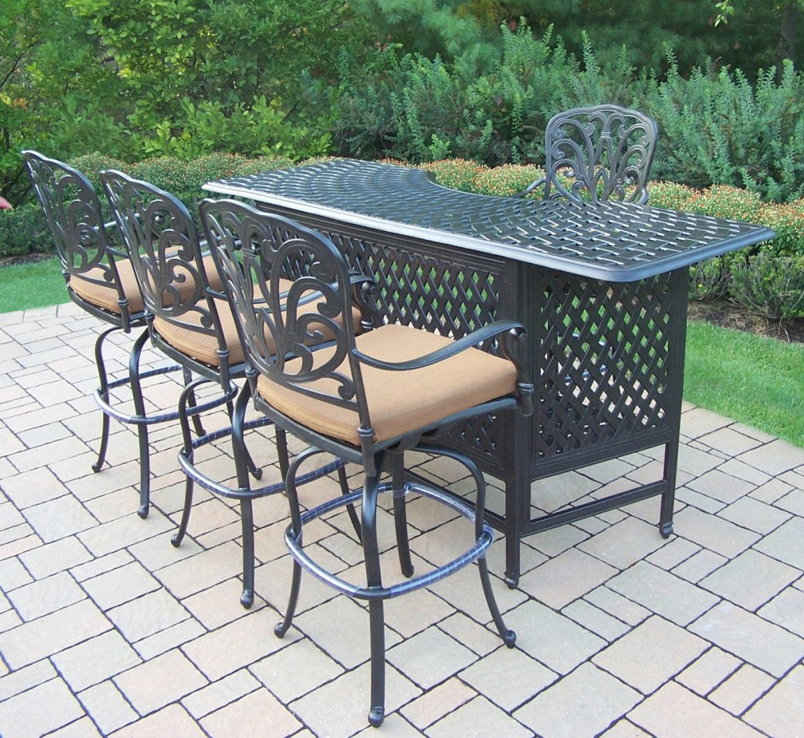 Amazon.com : Oakland Living Hampton 5 Piece Party Bar Set With Cushions :  Outdoor And Patio Furniture Sets : Garden U0026 Outdoor